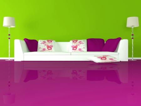 design de interiores de sala de estar moderna verde com grande sofá branco e chão-de-rosa, 3d render