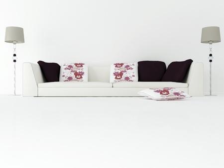 elegância design de interiores de sala de estar moderna com grande sofá branco, 3d rende