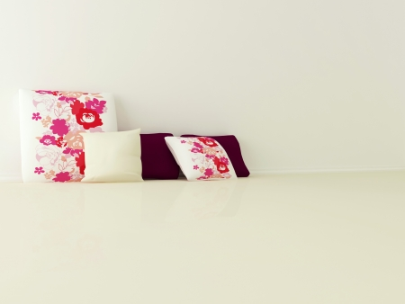 Beautiful color and floral pillows on the floor in the empty room, 3d render Stock Photo