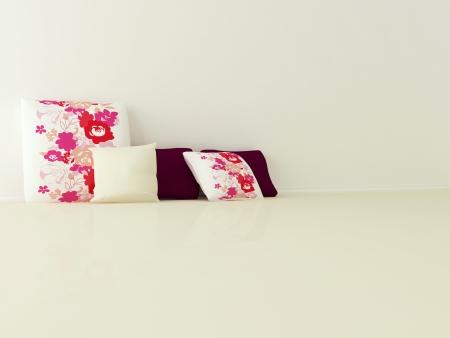 Cores e florais almofadas bonitas no ch