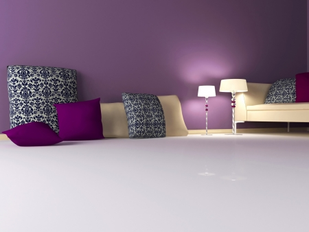 elegance interior design of modern violet living room, 3d render photo