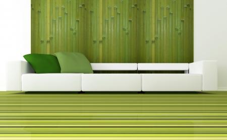 design de interiores de sala de estar moderna verde com grande sofá branco, 3d rendem