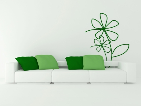 interior design of modern white living room with big white sofa and green pillows, 3d render Stock Photo - 15285202