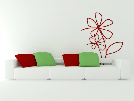 interior design of modern white living room with big white sofa with red and green pillows, 3d render photo