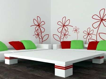 interior design of modern white living room, lounge with big white sofas with red and green pillows, 3d render photo