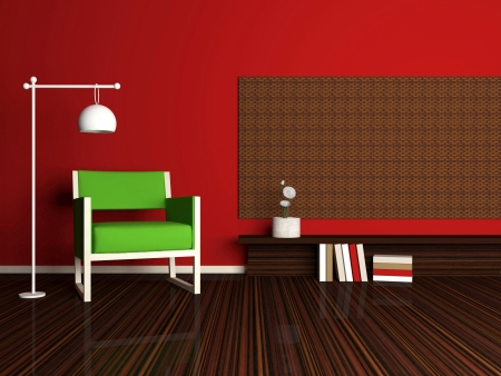 inter design of modern red living room, lounge with green armchair and books, 3d render Stock Photo - 15285231