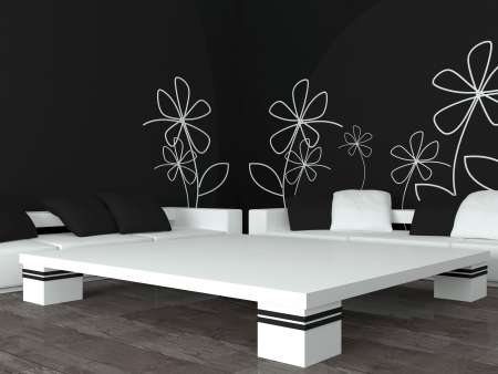interior design of modern black living room, lounge with big white sofas with pillows, 3d render photo
