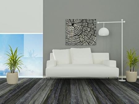 Projeto interior de elegância moderna sala com bela vista, sofá branco, sala, 3d rendering Imagens