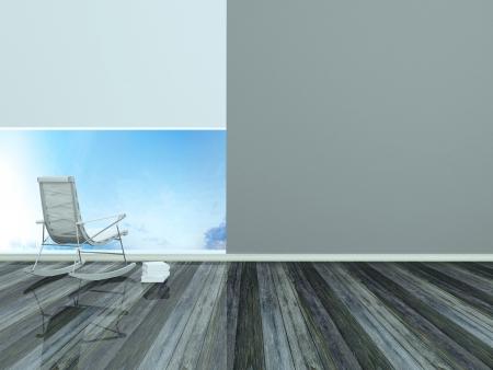 Design moderno interior, sala, lugar de descanso, 3d render