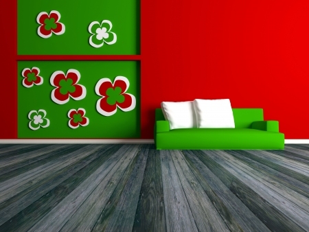 Design interior of elegance modern red living room, green sofa, lounge, 3d rendering photo