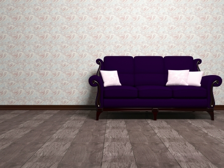 seater: Modern interior design, empty room with wooden floor and big classic violet sofa, 3d render