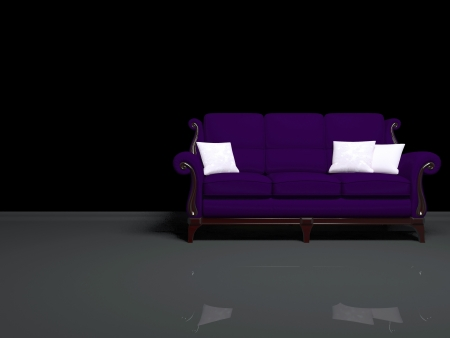 lounge room: Modern interior design, empty dark room with big classic violet sofa, 3d render
