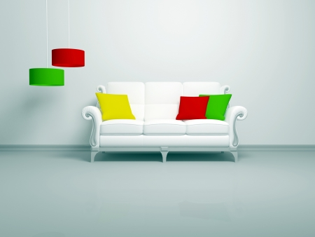 Modern interior of white minimalist living room, white sofa with color pillows indoor, 3d render photo