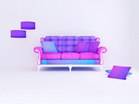 seater: bright interior design of white minimalist living room, color sofa, 3d render
