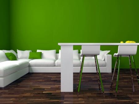 design de interiores de sala de estar moderna verde com grande sofá branco, grande sala de estar, 3d render