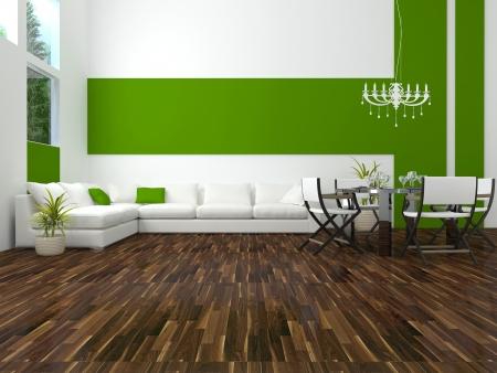design de interiores de moderna sala de jantar branca e verde, com grande sofá branco, grande sala de estar, 3d render
