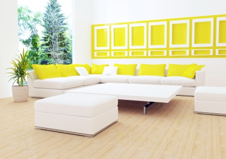 interior design of modern white living room with big white sofa, big lounge, 3d render photo