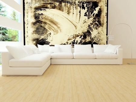 arte moderno: Dise�o interior moderno de sala de estar con sof� blanco blanco grande, sal�n grande, render 3d Foto de archivo