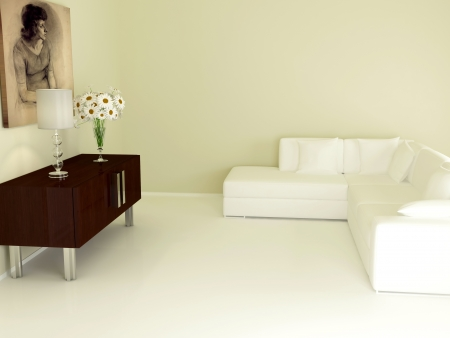 modern interior design of living room, nise composition indoor, 3d render photo