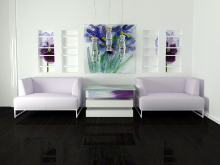 violet residential: interior design of white living room with modern furniture, nice decor, 3d render