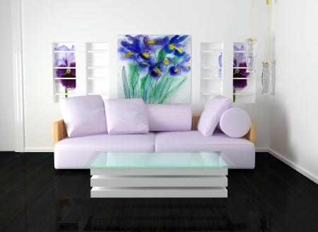 interior design of white living room with modern furniture, nice decor, 3d render Reklamní fotografie - 15285260