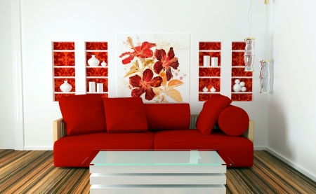 interior design of white and red living room with modern furniture, nice decor, 3d render photo