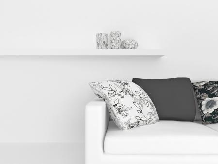 design de interiores moderno de sala de visitas branca, composição nise interior, 3d rende