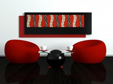 design de interiores de sala de estar contempor?nea com mobili?rio moderno, decora??o agrad?vel, 3d render
