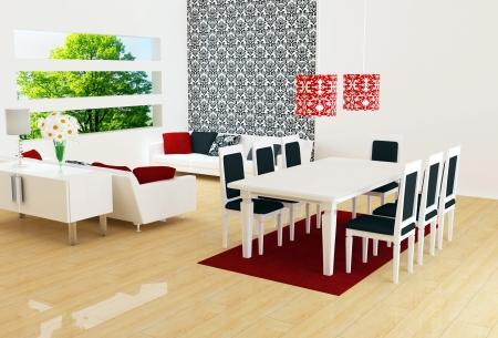design de interiores branco moderna sala de estar com grandes sofás brancos e dinig de mesa, grande sala de estar, 3d render