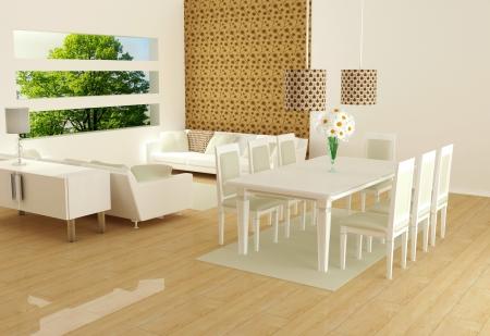 Diseño interior moderno de sala de estar blanco con grandes sofás blancos y una mesa de comedor, sala de estar grande, render 3d Foto de archivo - 15360477