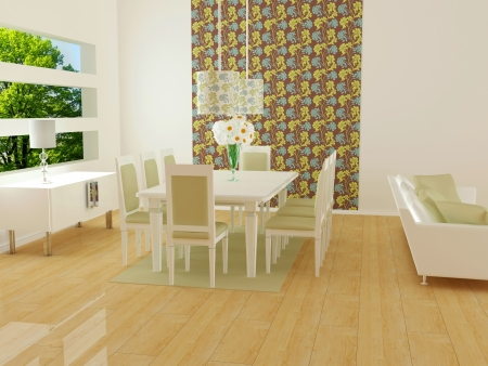 big window: interior design of modern white living room with big white sofas and dining table, big lounge, 3d render
