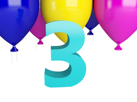 Happy Third Birthday. Blue number three and color balloons isolated on white photo