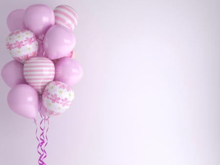party balloons: Pink balloons, background. Celebration concept. 3d render. Greeting Card. Stock Photo