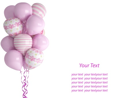 Pink balloons isolated on white background. Celebration concept for little baby girl. 3d render. Isolated on white background. Greeting Card with place for your text. Reklamní fotografie - 15360188