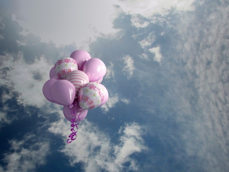 release: multicolored balloons in the sky, 3d render