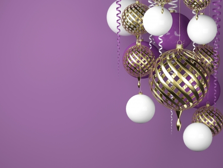 Purple new year background with golden balls and scroll photo