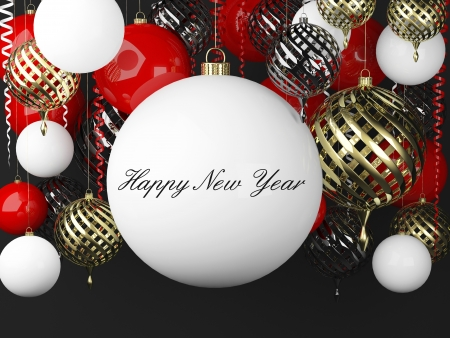 New Year background with golden, red and white balls and scrolls photo