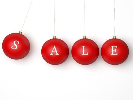 styczeń: Świąteczna wyprzedaż kulki czerwone. Nowoczesne Xmas retail cacko dekoracji. Jest to szczegółowy Renderuj 3d (Hi-Res). Samodzielnie na białym tle