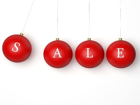 Sale Christmas red balls. Modern Xmas retail decoration bauble. This is a detailed 3d render (Hi-Res). Isolated on white background