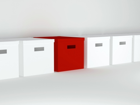 stranger: Unique red box in row with other boxes, render