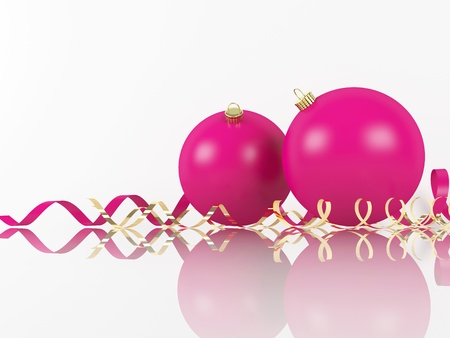 Pink Xmas balls and scrolls on white background and place for sample text photo