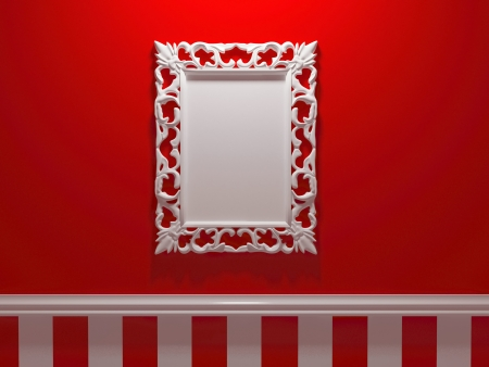 Antique whhite ornamented picture frame on the red wall, insert your own design, similar frames available in my portfolio, render illustration Stock Photo
