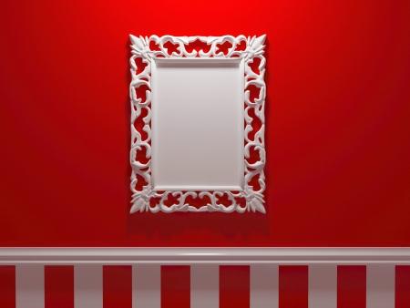 Antique whhite orné cadre photo sur le mur rouge, insérez votre propre design, cadres similaires disponibles dans mon portefeuille, rendre illustration
