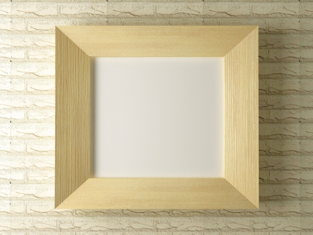 Wooden frame against a backdrop of brick wall, 3d render photo