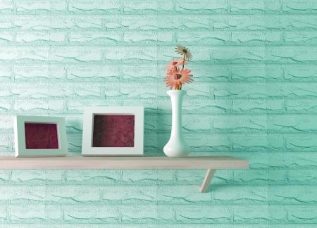 セラミック花瓶花と 3 d の棚の上の 2 つの画像フレームのレンダリングします。 写真素材