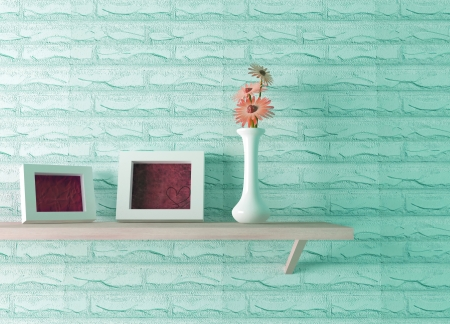 shelf: ceramics vase with flower and two picture frames on the shelf, 3d render Stock Photo