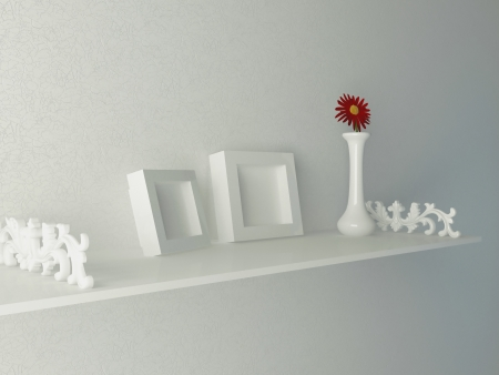 White shelf with molding and frames on it, 3d render photo