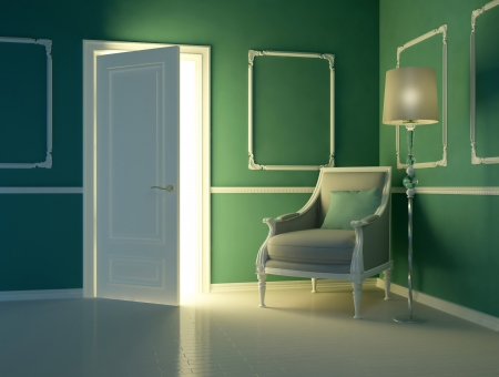 molding: Classic green interior,  luxury apartment with classic armchair and open door, 3d render
