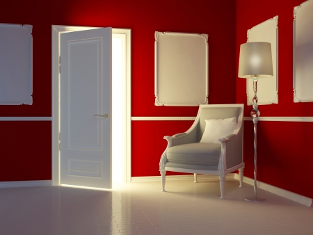 Classic red interior,  luxury apartment with classic armchair and open door, 3d render photo
