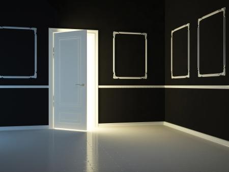Empty, dark, black, classic room with opened door, 3d render. Stock Photo